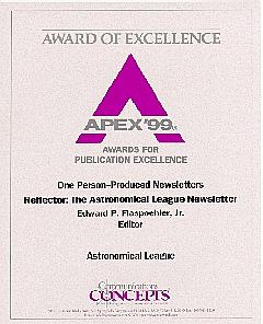 REFLECTOR Earns APEX-99 Award for Publication Excellence